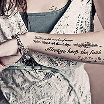 Kotbs Temporary Tattoos Paper Lovely English Words & Feather Designs Body Art Make up for Women Fake Tattoo Sticker  2 Sheet Pack