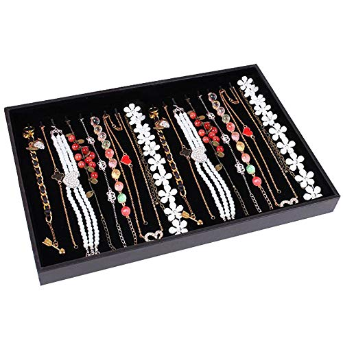 Wuligirl 20 Hooks Necklace Display Case for Jewelry Showcase Drawer Necklace Organizer Tray Stackable, Black (Necklace Tray)