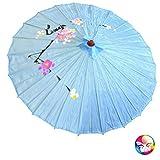 Ombrello Parasole cinese o giapponese circa 82cm di diametro per 53 di lunghezza azzurro...