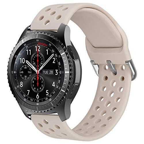MroTech Correa 22mm Silicona Compatible para Samsung Galaxy Watch 46mm/Gear S3 Frontier/Classic Pulsera de Repuesto para GTR 47MM/Huawei Watch GT/Active/Elegant/GT2 46mm 22 mm Band,Deportiva Beige