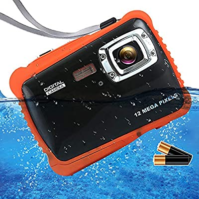 "ISHARE Waterproof Kids Camera, Underwater 12MP 1080P Waterproof Digital Camera with 2"" LCD, 8X Digital Zoom, Flash and Mic for Kids Girls Boys?Black & 2×Batteries? from iShareDirect"