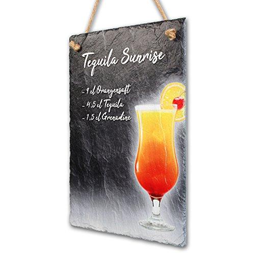 Creative Feder Cocktail bordjes 10 recepten van echt leisteen bord - Wanddecoratie - ideaal feestgeschenk 30x20cm Tequila Sunrise