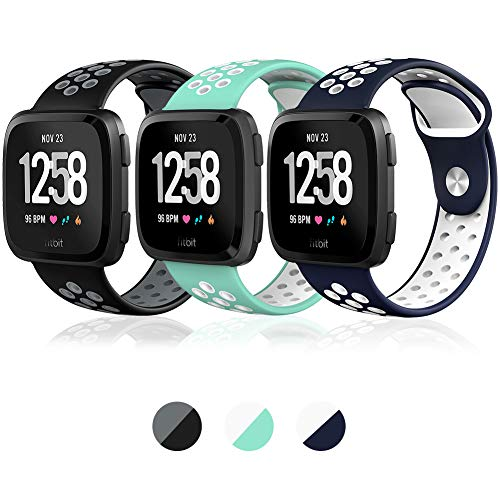 Hagibis Compatible Fitbit Versa Bands Sport Silicone Replacement Breathable Strap Bands New Fitbit Versa Smart Fitness Watch (Z-03 -D)