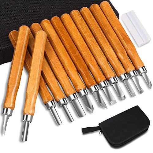Holz-Schnitzwerkzeug Set,DIAOPROTECT 12 Stück Holz-Schnitzmesser mit Schleifsteine für Kinder, Anfänger und Professionel, für Holz, Obst, Gemüse, Carving DIY, Skulptur und Wax