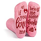 Lavley - Womens Novelty Socks - Soft Cozy Pink Fuzzy 'If You Love Me' Socks - One Size Fits All -...