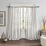 Elrene Home Fashions Hampton Stripe Sheer Window Curtain Panel, 52' x 84' (1, Gray