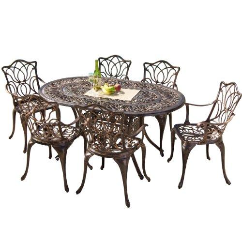 Hot Sale Best Selling  Haitian Cast Aluminum Outdoor Dining Set, Set of 7