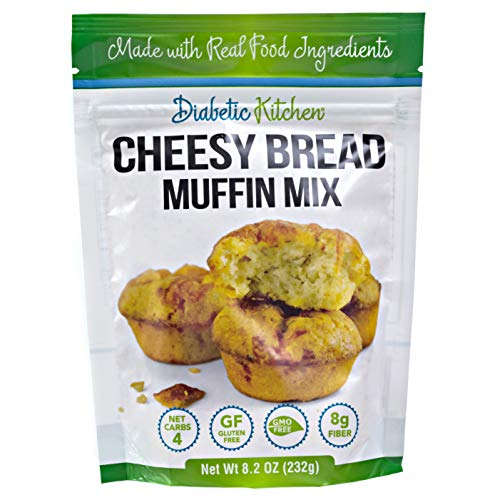 Diabetic Kitchen Cheesy Bread Keto Muffin Mix – Low Carb Bread Biscuits – 4 Net Carbs Gluten-Free 8g Fiber Non-GMO
