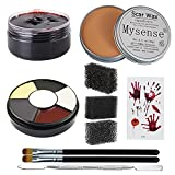 Mysense 3.5Oz(100g) Nose and Scar Wax SFX Zombie Make Up Special Effects Fake Molding Wound Skin Wax Halloween Stage Makeup with 6 Color Body Paint Spatula Fake Blood Gel Tatooes Stipple Sponges