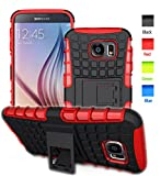 BELLETAS S6 case,Galaxy S6 Case,S6 2 in 1 Plastic and TPU Hybrid Rubber Strong Hard Back Heavy Duty Shockproof Protective Armor Cover Case with Stand for Mens Samsung Galaxy S 6 (Red)