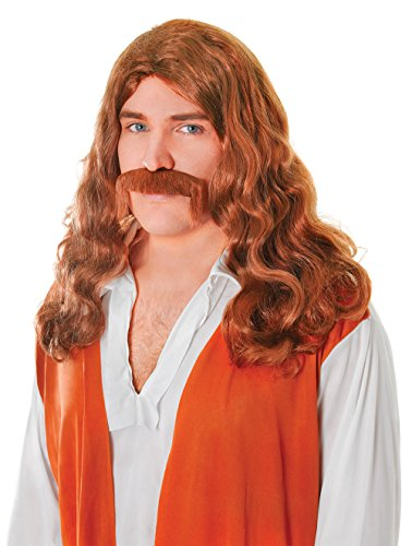 Hippy Man Wig + Tash Set. Brown