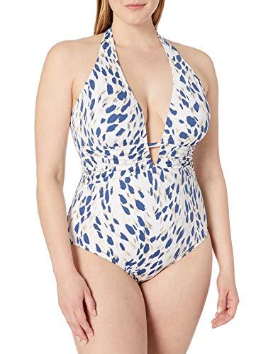 La Blanca Women's V-Front Keyhole Halter One Piece Swimsuit, Blue Moon//Brushstroke Petals, 6