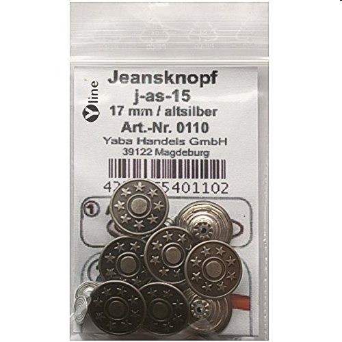 Yline 8 Stück Jeansknöpfe/Metallknöpfe Altsilber nähfrei im Polybeutel, sl, 0110