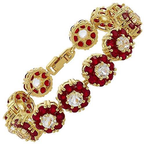RIVA Blume Tennis Armband [18cm/7inch] mit Rundschliff Edelstein Zirkonia CZ [Rot Rubin] in 18K Gelbgold Vergoldet, Einfache Moderne Eleganz