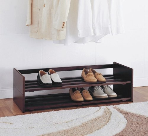 Organize It All 2-Tier Mahogany Stackable Shoe Rack by Organize It All