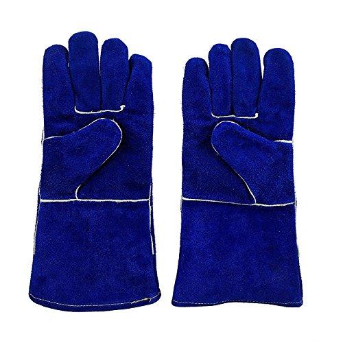 "Instapark Welding Gloves Medium Large MIG STICK TIG Compatible Split Leather Fleece Lined, Blue 14"" One Size Fits All"