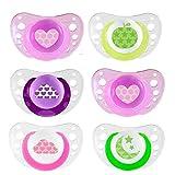 CHICCO Day & Night ciuccio 6+ GIRLS 6-16 mesi Soft Silicone, 6 unità, 3 contenitori per il trasporto e la sterilizzazione
