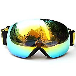Lixada Winter Ski Goggles UV400 Protection Double Lens Snowboard Goggles Spherical Anti-Fog Ski Goggles Skating Skiing Sports Glasses Interchangeable Ski Goggles (A -Blue -7,5 × 4,3 inches)