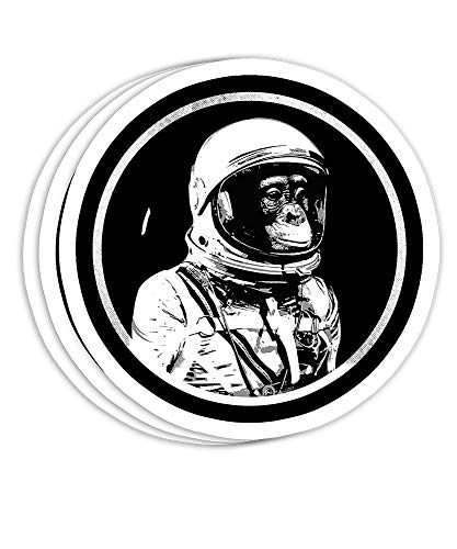 Funny Space Chimp Astronaut Street Art Vintage Cosmo Style Gift Decorations - 4x3 Vinyl Stickers, Laptop Decal, Water Bottle Sticker (Set of 3)
