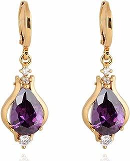 purple stone earrings gold