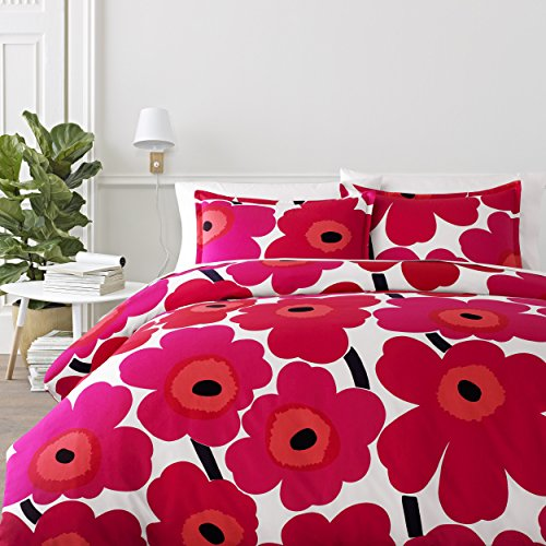 Marimekko 221455 Unikko Duvet Cover Set Red, Full/Queen