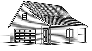 Garage Plans - 24' by 36' with Porch - 2 Car , Single Story with Storage loft