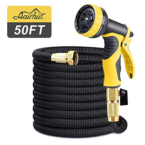 Aairhut 50 Feet Garden Hose, Expandable Water Hose with Double Latex Core, 3/4' Solid Brass Fittings, Extra Strength Fabric - Flexible Expanding Hose with Metal 9 Function Spray Nozzle