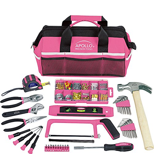 Apollo Tools 201pc DT0020P Household Tool Kit in a Soft Sided Tool Bag Pink