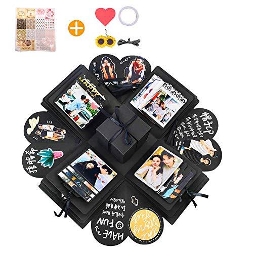 arekeke Explosion Box Scrapbook Creative DIY Photo Album, Caja de Regalo Creative Explosion, Regalos de cumpleaños (Negro)
