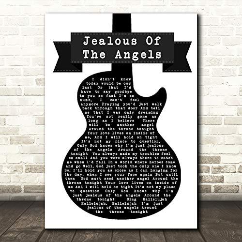 Jaloers van De Engelen Zwart & Wit Gitaar Song Lyrische Muziek Gift Wall Art Poster Print Medium A4