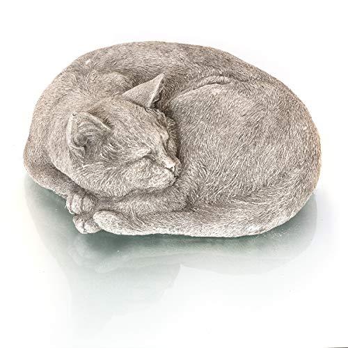 Antikas - Gato Que Duerme - Estatua de Animal decoración jardín Figuras de Piedra - decoración de Exterior - estatuas Escultura de Piedra
