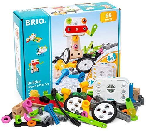Brio Builder 34592 - Builder Record and Play Set - 67-Piece Construction Set STEM Toy with Wood and Plastic Pieces and a Sound Recorder for Kids Age 3 and Up