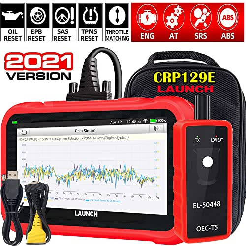 """LAUNCH OBD2 Scanner CRP129E Eng/ABS/SRS/TCM Code Reader, Oil/EPB/SAS/TPMS/Throttle Body Reset Scan Tool,AUTO VIN,Android 7.0,5.0""""Screen,WiFi Free Update,EL50448 Tool+Carry Bag(Gifts),2021 Elite Ver."""