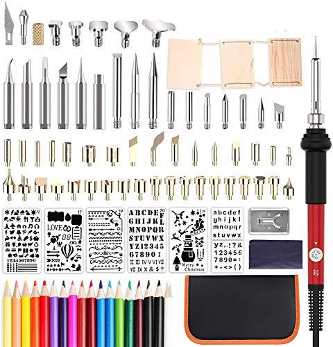 99pcs Kit Pirograbador de Madera, herramienta profesional de leña Pancellent con soldador, juego de herramientas creativas Pluma de pirografía de soldadura de temperatura ajustable