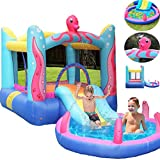 Inflatable Bouncer with Water Slide, Jumping Castle with Slide and Sprinkler, Bouncing House with...
