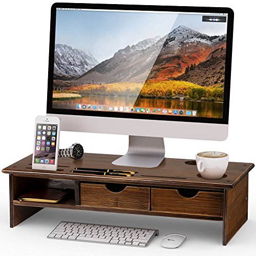 Tribesigns Monitor Stand Riser with Storage Organizer Drawers Bamboo,Retro Brown