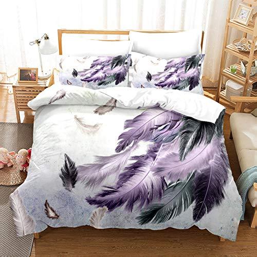 YZDM - Funda de edredón con diseño de plumas, diseño tribal indio, color azul, verde, gris y morado