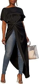 Womens Sexy One Shoulder Long Sleeve Metallic High Slit T-Shirt Dress