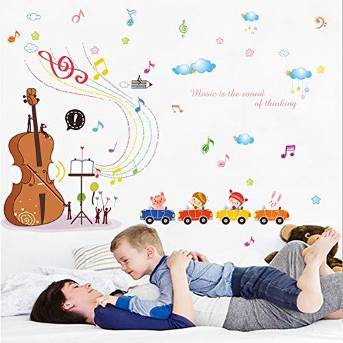 PISKLIU Muurstickers Muurfiguren Cartoon Muisc Autos Muursticker voor kinderkamer slaapkamer kleuterschool muur wooncultuur vinyl afneembaar cello behang sticker kunst wandafbeeldingen