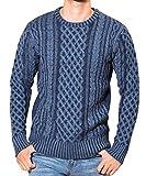 JIGGYS SHOP セーター メンズ ニット クルーネック 暖かい 防寒 カジュアル 長袖 M Aツートンインディゴ(クルーネック)