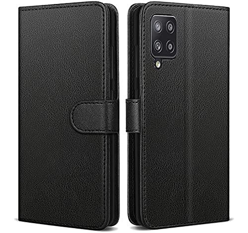 NWNK13 Für Samsung Galaxy A12 Hülle Leder Wallet Book Flip Stand View Phone Cover mit Kartenfächer Kompatibel mit Galaxy A12 5G (Schwarz)