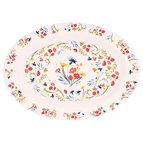 Les Jardins de la Comtesse – Plato ovalado de bambú – Tamaño grande – Diseño de flores de los campos – Ecológico – 39,5 x 29 cm – Ligero, perfecto como plato de presentación – Respeta su salud