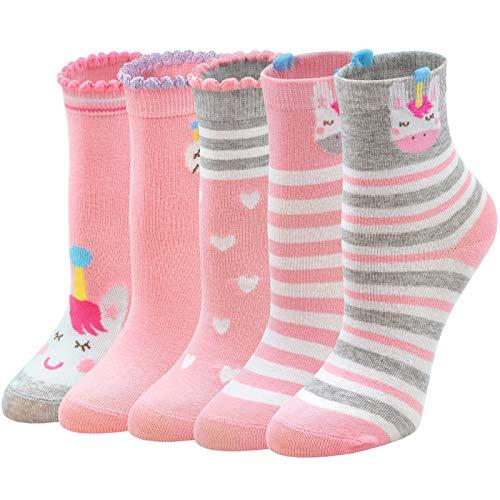 ZFSOCK Socken Mädchen Einhorn 31-34 Kindersocken aus Baumwolle Lustige Tiermuster Teenager Sneaker Socken Gestreift Bunte Modern Elegant Niedliches Knöchelsocken 5 Paare Rosa