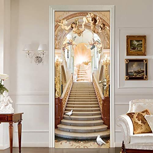 Türtapete Selbstklebend TürPoster Tür Aufkleber 3D wasserdicht Kunst Dekoration Aufkleber Jesus Religion PVC Engel Selbstklebende DIY Papier für Schlafzimmer Aufkleber 30,3x78,7 Zoll