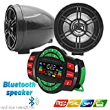 UTV ATV Bluetooth Amplifier Sound System Hand-Free Speakers FM USB Audio System Stereo 3 Inch Speakers 12V Motorcycle Waterproof Audio FM Radio Stereo Speaker (Black)