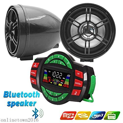 UTV ATV Bluetooth Amplifier Sound System Hand-Free Speakers FM USB Audio System Stereo 3 Inch Speakers 12V Motorcycle Waterproof Audio FM Radio Stereo Speaker (Black)
