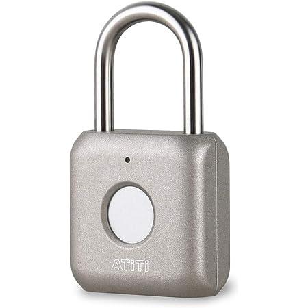 ATITI 南京錠 指紋認証 タッチロック 指紋ロック 快速認証 20枚指紋登録可能 小型 USB充電式 盗難防止 防水 防犯用 グレー