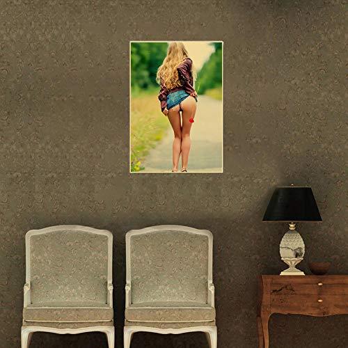 WKAQM Sexy Big Butt Poster Prints Sexy Bikini Women Canvas Wall Art Sexy Hot Girl Big Ass Wall Painting Bar Cafe Bedroom Picture Wall Art Decor Sin Marco Z-5404