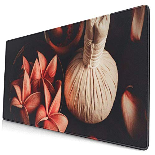 Gaming Mouse Pad,Mouse Pads with Non-Slip Rubber Base,Mousepad Herbal Thai of Spa High Angle Compress Flower Life