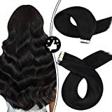 Moresoo Black Tape in Hair Extensions Human Hair 24inch Human Hair Tape in Extensions Pure Color Jet Black Skin Weft Hair Extensions Remy Human Hair Seamless Glue on Hair PU Tape ins #1 50Gram/20PCS